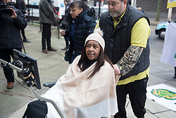 © Licensed to London News Pictures. 27/01/2020. London, UK. Campaigner Clarry Mendy, who lost a cousin in the fire, arrives for the start of phase two of the Grenfell Inquiry. The second part of the inquiry into the fire that claimed the lives of 72 residents will consider important wider issues around the refurbishment and management of the Tower. Photo credit: Peter Macdiarmid/LNP