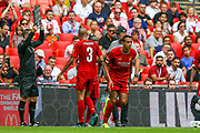 Substitution Liverpool midfielder Fabinho (3)comes on for Liverpool defender Trent Alexander-Arnold (66) during the FA Community Shield match between Manchester City and Liverpool at Wembley Stadium, London, England on 4 August 2019.