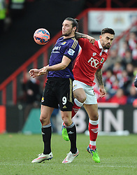 Bristol City's Marlon Pack battles for the high ball with West Ham's Andy Carroll  - Photo mandatory by-line: Joe Meredith/JMP - Mobile: 07966 386802 - 25/01/2015 - SPORT - Football - Bristol - Ashton Gate - Bristol City v West Ham United - FA Cup Fourth Round