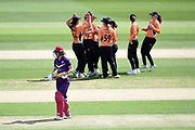 Amy Jones of Loughborough Lightning walks off after being bowled by Lauren Bell during the Kia Women's Cricket Super League semi-final match between Loughborough Lightning and Southern Vipers at the 1st Central County Ground, Hove, United Kingdom on 1 September 2019.
