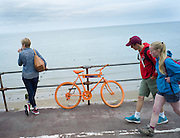 Orange bike with business cards advertising Bike hire in Colwyn Bay