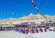 Ladakhi people with traditional costumes participates in the Ladakh Festival in Leh India