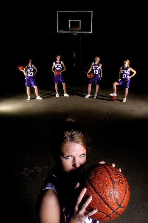Janna Bloemendaal (front), Mallory Richardson, Maggie Achterhof, Morgan Achterhoff and Cassie Huizenga of Class 3A sixth-ranked MOC-Floyd Valley in Orange City, Iowa  plan to stand strong against their opponents this winter after a trip to the state semi-finals last season.