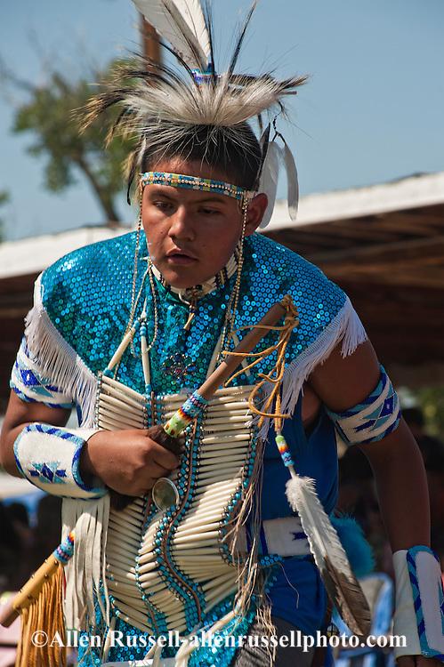 Traditional dancer, teenager, Crow Fair powwow, Crow Indian Reservation, Montana