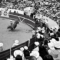 "Mexican cowboys ride a wild bull in the ""Plaza de toros"", during one of the Oldest Bullfighting carnival in Latin America.  Every year since 1831 the people of Autlan, in the south west of Mexico celebrates a festivities before  the beginning of the Easter."