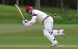 Somerset's Johann Myburgh hits the ball of the bowling of Durham MCCU's Jack Wood- Photo mandatory by-line: Harry Trump/JMP - Mobile: 07966 386802 - 02/04/15 - SPORT - CRICKET - Pre Season Fixture - Day One - Somerset v Durham MCCU - Taunton Vale Cricket Ground, Somerset, England.