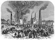 Second explosion at Oaks Colliery, Barnsley, Yorkshire, England, December 1866. 350 people were killed including a number who perished in the second and third explosions while they were searching for survivors and bodies. From 'The Illustrated London News',  London, 1865.  Wood engraving.