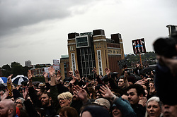 © Licensed to London News Pictures. 05/06/2017. Newcastle Upon Tyne, UK. Newcastle's Millenium Bridge and Baltic Centre For Contemporary Art form the backdrop to a crowd of hundreds who cheered the arrival of Jeremy Corbyn MP, Leader of the Labour Party before he spoke to them outside the Sage in Gateshead. Mr Corbyn spent one of the final days of the campaign trail in the Labour heartlands of North-East England before voters go to the polls in the UK General Election on June 8th 2017. Photo credit: MARY TURNER/LNP