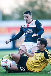 Falkirk's Mark Millar tackles Livingston Andy Barrowman.<br /> Falkirk 4 v 1 Livingston, Scottish Championship game played today at the Falkirk Stadium.