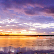 Algarve QDL cloudscape Sunset timelapse at Ria Formosa wetlands reserve, southern Portugal, famous nature destination.