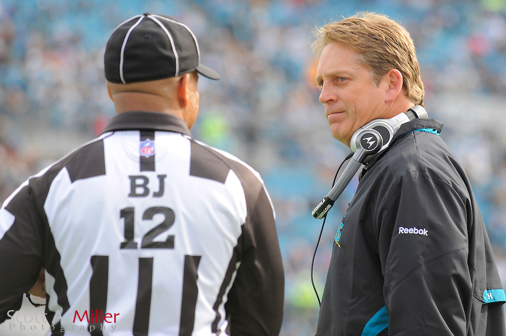 Dec. 6, 2009; Jacksonville, FL, USA; Jacksonville Jaguars coach Jack Del Rio talks with a referee during the Jags game against the Houston Texans at Jacksonville Municipal Stadium. ©2009 Scott A. Miller
