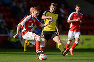 Alex Gilbey of Colchester United does battle with Reece Flanagan of Walsall during the Sky Bet League 1 match between Walsall and Colchester United at the Banks's Stadium, Walsall<br /> Picture by Richard Blaxall/Focus Images Ltd +44 7853 364624<br /> 06/09/2014