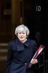 © Licensed to London News Pictures. 01/03/2017. London, UK. British Prime Minister Theresa May leaves No 10 Downing Street before Prime Minister's Questions. Photo credit: Rob Pinney/LNP