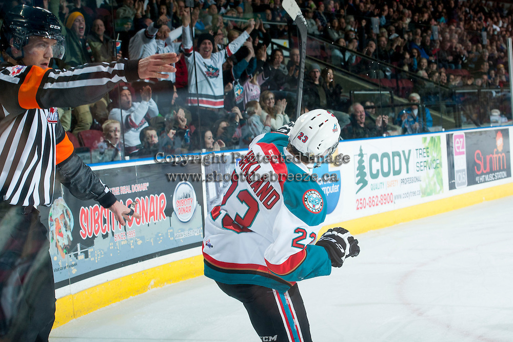 KELOWNA, CANADA - DECEMBER 30: Justin Kirkland #23 of Kelowna Rockets celebrates the first goal of the game against the Prince George Cougars on December 30, 2014 at Prospera Place in Kelowna, British Columbia, Canada.  (Photo by Marissa Baecker/Shoot the Breeze)  *** Local Caption *** Justin Kirkland;