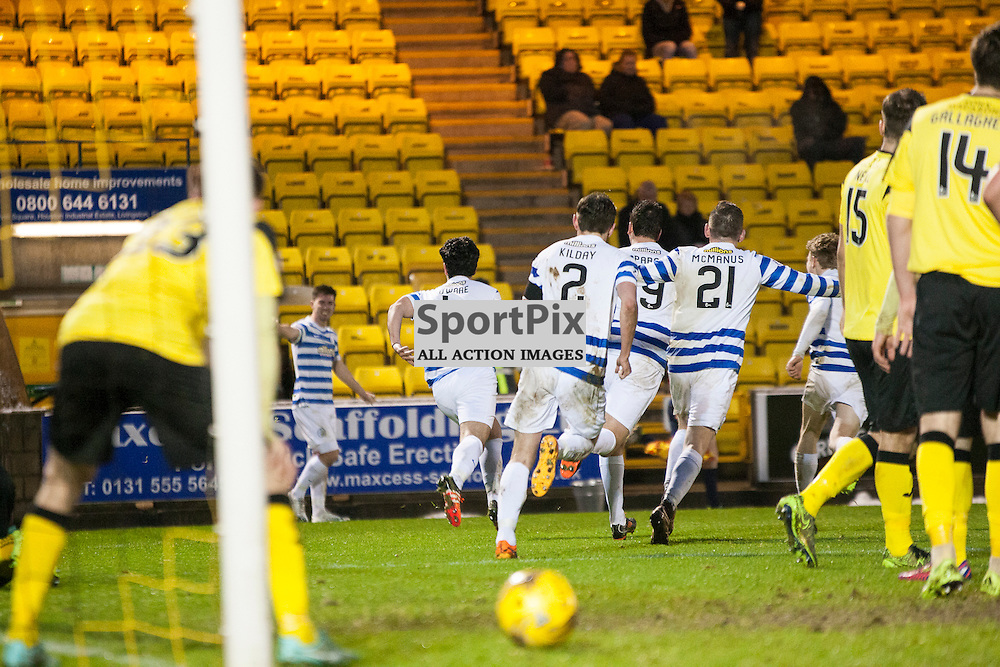 Livingston v Greenock Morton, Scottish Cup 4th Round, 9 January 2016, Thomas Oware (Greenock Morton, 4) celebrates the opening goal during the Livingston v Greenock Morton Scottish Cup 4th Round match played at the Toni Macaroni Arena, © Chris Johnston | SportPix.org.uk