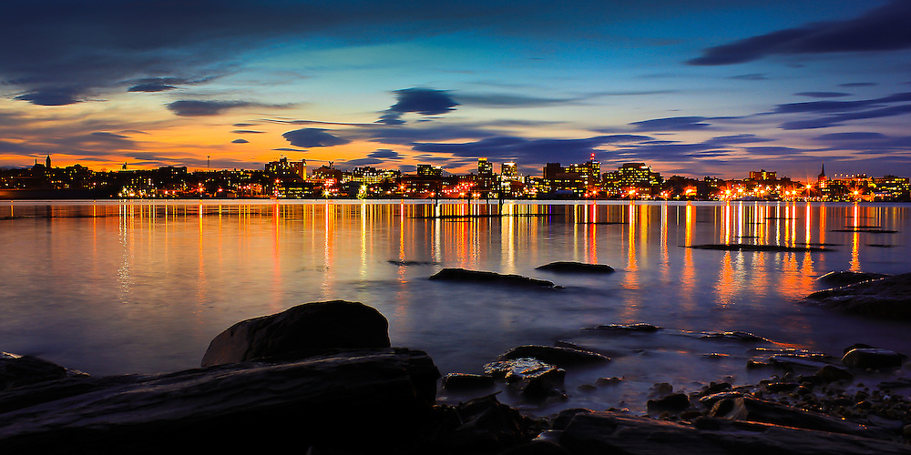 Some dramatic clouds provided a beautiful backdrop for one of my first long exposures of the Portland Skyline from the waterfront on the South Portland side of Portland Harbor.