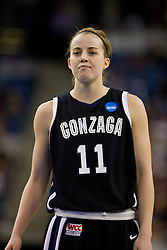 March 27, 2010; Sacramento, CA, USA; Gonzaga Bulldogs guard/forward Janelle Bekkering (11) during the first half against the Xavier Musketeers in the semifinals of the Sacramental regional in the 2010 NCAA womens basketball tournament at ARCO Arena.  Xavier defeated Gonzaga 74-56.