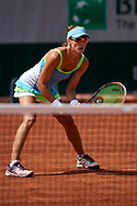 Paris, France - 2017 June 02: Alicja Rosolska from Poland looks forward while her women's double match second round during tennis Grand Slam tournament The French Open 2017 (also called Roland Garros) at Stade Roland Garros on June 02, 2017 in Paris, France.<br /> <br /> Mandatory credit:<br /> Photo by © Adam Nurkiewicz<br /> <br /> Adam Nurkiewicz declares that he has no rights to the image of people at the photographs of his authorship.<br /> <br /> Picture also available in RAW (NEF) or TIFF format on special request.<br /> <br /> Any editorial, commercial or promotional use requires written permission from the author of image.