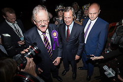 © Licensed to London News Pictures . 05/06/2014 . Newark , Nottinghamshire , UK . L Robert Helmer and C Nigel Farage  of UKIP arrive . The count for the Newark by-election at Kelham Hall , Newark , this evening (Thursday 5th June 2014) . Photo credit : Joel Goodman/LNP