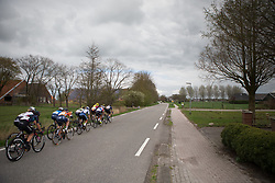 A small lead group forms halfway through the second lap of Stage 4 of the Healthy Ageing Tour - a 126.6 km road race, starting and finishing in Finsterwolde on April 8, 2017, in Groeningen, Netherlands.