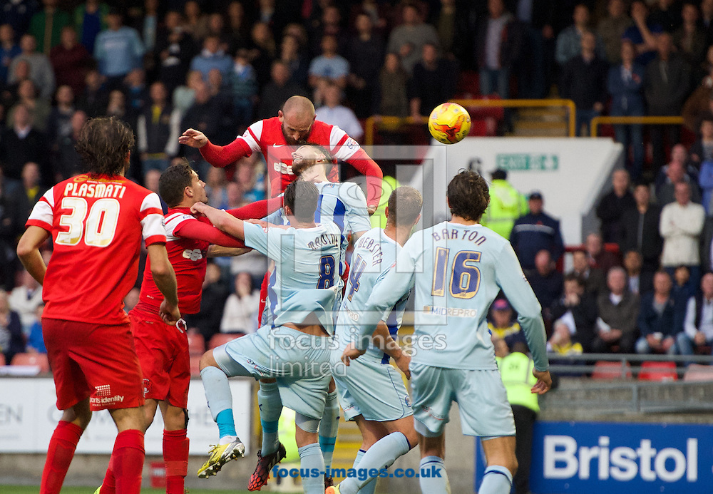 Scott Cuthbert of Leyton Orient  scores the equaliser with a header to make it 1-1 during the Sky Bet League 1 match at the Matchroom Stadium, London<br /> Picture by Alan Stanford/Focus Images Ltd +44 7915 056117<br /> 01/11/2014