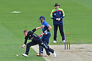 Scott Borthwick (Surrey) clears up during the Royal London 1 Day Cup match between Surrey County Cricket Club and Kent County Cricket Club at the Kia Oval, Kennington, United Kingdom on 12 May 2017. Photo by Jon Bromley.