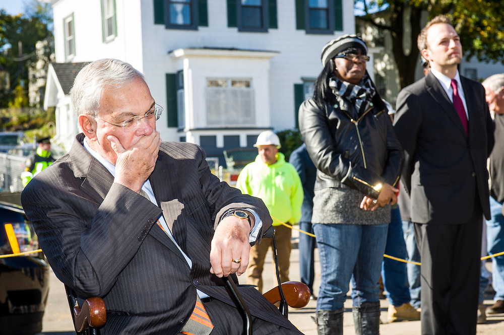 Boston Mayor Tom Menino having spoke at an event in Boston's Quincy Heights neighborhood now listens. In two months, the Mayor's 20 years in office would come to an end with the election of Marty Walsh.