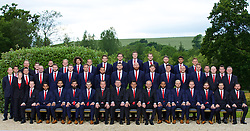 CARDIFF, WALES - Wednesday, June 1, 2016: Wales players line up for a team group photograph at the Vale Resort Hotel ahead of the UEFA Euro 2016 Championships in France. Back row L-R: head of international affairs Mark Evans, performance analysts James Turner, masseur Chris Senior, George Williams, Ethan Ampadu, David Vaughan, goalkeeper Chris Maxwell, goalkeeper Daniel Ward, goalkeeper Wayne Hennessey, goalkeeper Owain Fon Williams, Wes Burns, Tyler Roberts, George Williams. Middle row L-R: physiotherapist Paul Davey, sports science coach Adam Owen, performance analyst Esther Laugharne, physiotherapist David Weeks, performance psychologist Ian Mitchall, Paul Dummett, Simon Church, Andy King, Ashley 'Jazz' Richards, Sam Vokes, James Collins, Ben Davies, James Chester, David Cotterill, David Edwards, masseur David Rowe, physiotherapist Sean Connelly, Ronan Kavanagh, kit man Kevin McCusker. Front row L-R: Medical Officer Doctor Jon Houghton, Neil Taylor, Hal Robson-Kanu, Joe Ledley, Gareth Bale, goalkeeping coach Martyn Margetson, assistant manager Osian Roberts, manager Chris Coleman, coach Paul Trollope, captain Ashley Williams, Aaron Ramsey, Chris Gunter, Joe Allen, head of performance Ryland Morgans, kit man David Griffiths. (Pic by David Rawcliffe/Propaganda)