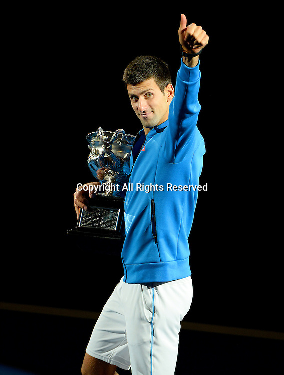 Novak Djokovic (SRB) wins the Men's Singles Final against Andy Murray (GBR) in 4 sets<br /> 2015 Australian Open Tennis / Day 14<br /> Grand Slam of Asia Pacific<br /> Melbourne Park, Vic Australia<br /> Sunday 1 February 2015<br /> &copy; Sport the library / Jeff Crow