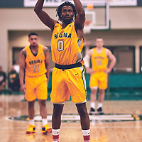 4th year guard, Gresihe Clerjuste (0) of the Regina Cougars during the Men's Basketball Home Game on Fri Nov 02 at Centre for Kinesiology,Health and Sport. Credit: Arthur Ward/Arthur Images