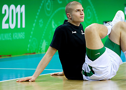 Edo Muric of Slovenia at warming up prior to the basketball game between National basketball teams of Slovenia and Lithuania at of FIBA Europe Eurobasket Lithuania 2011, on September 15, 2011, in Arena Zalgirio, Kaunas, Lithuania.  (Photo by Vid Ponikvar / Sportida)