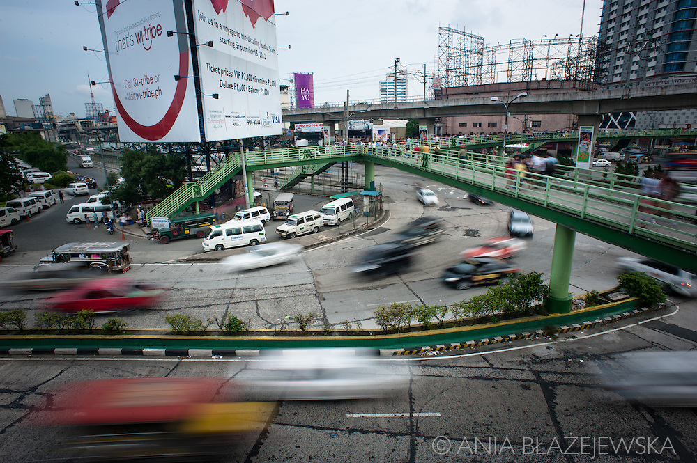 Philippines, Metro Manila. Traffic at EDSA in the main highway of Metro Manila.