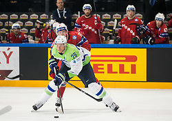 Jan Urbas of Slovenia vs Aleksander Reichenberg of Norway during the 2017 IIHF Men's World Championship group B Ice hockey match between National Teams of Slovenia and Norway, on May 9, 2017 in Accorhotels Arena in Paris, France. Photo by Vid Ponikvar / Sportida
