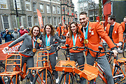 Officiele huldiging van de Olympische en Paralympische medaillewinnaars in de Grote Kerk of St. Jacobskerk, Den Haag.<br /> <br /> op de foto:  Bibian Mentel, Ireen Wust, Suzanne Schulting en Kjeld Nuis