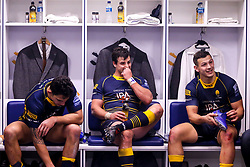 Bryce Heem, Francois Venter and Ryan Mills of Worcester Warriors celebrate in the changing room after beating Harlequins - Mandatory by-line: Robbie Stephenson/JMP - 23/11/2018 - RUGBY - Sixways Stadium - Worcester, England - Worcester Warriors v Harlequins - Gallagher Premiership Rugby