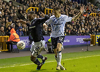 Football - 2018 / 2019 Emirates FA Cup - Fourth Round: Millwall vs. Everton<br /> <br /> Mahlon Romeo (Millwall FC) goes down under the challenge from Lucas Digne (Everton FC ) at The Den.<br /> <br /> COLORSPORT/DANIEL BEARHAM