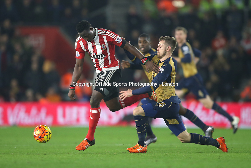 26 Devember 2015 - Premier League Football - Southampton v Arsenal :<br /> Victor Wanyama of Southampton takes the ball from Aaaron Ramsey.<br /> Photo: Mark Leech