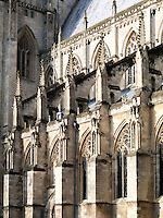 14th century clerestory and south aisle to Beverley Minster, Yorkshire, UK. Flying buttresses with crocketed pinnacles.
