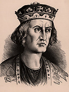 William II called Rufus (the Red) (1056-1100), second surviving son of William I , king of  England from 1087.  Cruel and rapacious, he was an unpopular monarch.   He was killed by an arrow at Brokenhurst in the New Forest. Wood engraving c1900.