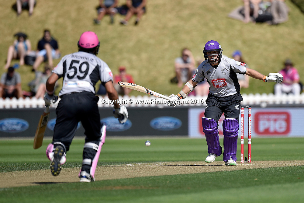Tom Latham (R of the South Island makes a call to team mate Dean Brownlie of the South Island during the North Island vs South Island cricket match at the Basin Reserve in Wellington on Sunday the 28th of February 2016. Copyright Photo by Marty Melville / www.Photosport.nz