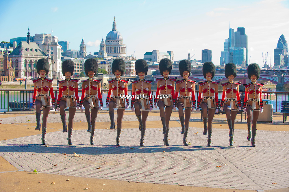 The Crazy Horse girls from Paris, arrive in London ,Tuesday, 18th September,  for the launch of their Forever Crazy show at the South Bank in London.   Photo by: i-Images