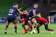 MELBOURNE, AUSTRALIA - APRIL 06: Quade Cooper of the Rebels runs with the ball at round 8 of The Super Rugby match between Melbourne Rebels and Sunwolves on April 06, 2019 at AAMI Park in VIC, Australia. (Photo by Speed Media/Icon Sportswire)