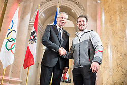 24.01.2018, Hofburg, Wien, Pyeongchang 2018, Vereidigung der Olympia-Mannschaft durch den Bundespräsidenten, im Bild Bundespräsident Alexander Van der Bellen und Marcel Hirscher (AUT) // federal president of Austria Alexander Van der Bellen and Marcel Hirscher of Austria during the swearing-in of the Austrian National Olympic Committee for Pyeongchang 2018 at Hofburg in Vienna, Austria on 2018/01/24, EXPA Pictures © 2018 PhotoCredit: EXPA/ Michael Gruber