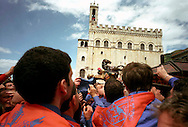Gubbio 15 MAY 2007..Festival of the Ceri..The raising, ?Alzata? of the Ceri  the morning..The cero of St George  ....http://www.ceri.it/ceri_eng/index.htm..