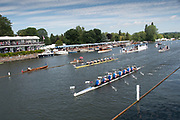 Henley on Thames, England, United Kingdom, Friday, 05.07.19, Newcastle University A, leading Brown University, U.S.A., as they pass the Progress Board, in the Heat of the Temple Challenge Cup, Henley Royal Regatta,  Henley Reach, [©Karon PHILLIPS/Intersport Images]<br /> <br /> 11:10:48 1919 - 2019, Royal Henley Peace Regatta Centenary,