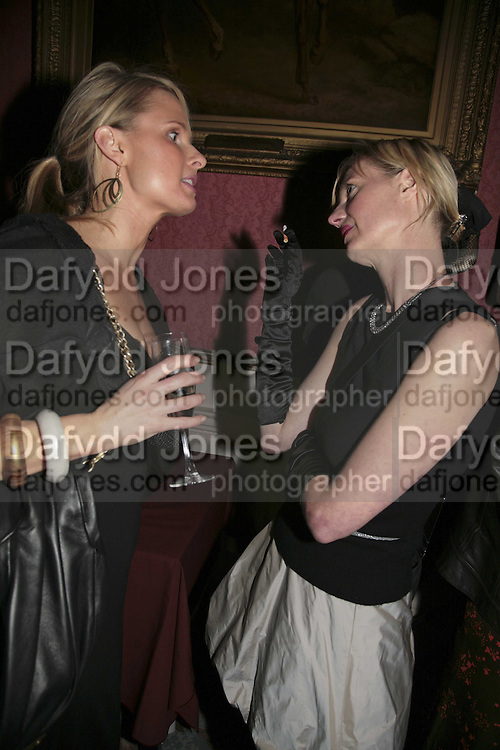 OLIVIA KEMP AND EMMA BLAKE, Literary Review's Bad Sex In Fiction Prize.  In &amp; Out Club (The Naval &amp; Military Club), 4 St James's Square, London, SW1, 29 November 2006. <br />Ceremony honouring author who writes about sex in a 'redundant, perfunctory, unconvincing and embarrassing way'. ONE TIME USE ONLY - DO NOT ARCHIVE  &copy; Copyright Photograph by Dafydd Jones 248 CLAPHAM PARK RD. LONDON SW90PZ.  Tel 020 7733 0108 www.dafjones.com