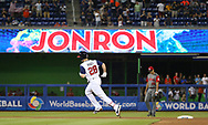 March 12, 2017 - Miami, FL, USA - United States catcher Buster Posey rounds second base after hitting a solo home run during the seventh inning of a World Baseball Classic first round Pool C game against Canada on Sunday, March 12, 2017 at Marlins Park in Miami, Fla. (Credit Image: © David Santiago/TNS via ZUMA Wire)