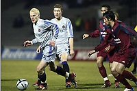 BORDEAUX, (FRA) 11/03/2004<br /> SPORT / FOOTBALL / VOETBAL /<br /> 1/8 FINALE UEFA BEKER CLUB BRUGGE - F.C. BORDEAUX / 1/8 FINALE FC BRUGES - F.C. GIRONDINS DE BORDEAUX /<br /> RUNE LANGE - MARCO CANEIRA /<br /> PICTURE BY NICO VEREECKEN<br /> DIGITALSPORT