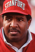 PALO ALTO, CA - NOV 1991:  Dennis Green, Stanford University Head Coach talks after a Stanford Cardinal football game played in November 1991 at Stanford Stadium in Palo Alto, California. (Photo by David Madison/Getty Images)