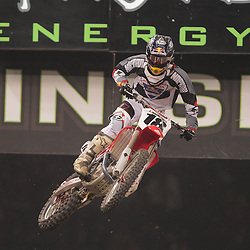 14 March 2009: David Millsaps (18) gains air during the Monster Energy AMA Supercross race at the Louisiana Superdome in New Orleans, Louisiana